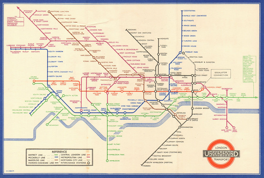 LONDON UNDERGROUND tube map diagram plan. Middle Circle. HARRY BECK #2 1936