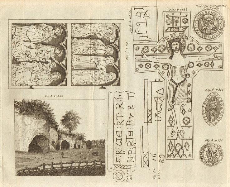 Crucifix. Nottingham caverns. Kirkby-over-Carr church. Edwardstow 1785 print