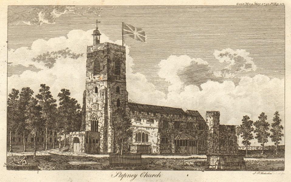 Stepney church. St Dunstan's church. London 1792 old antique print picture