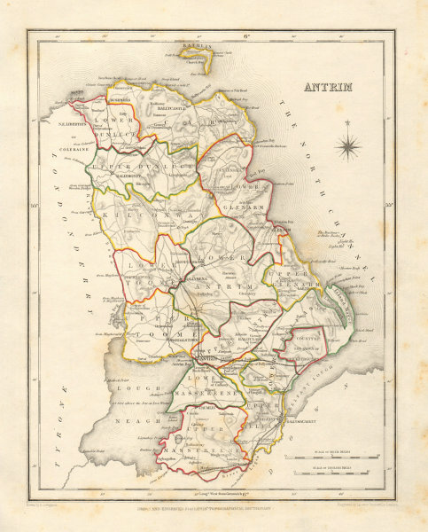 COUNTY ANTRIM antique map for LEWIS by DOWER & CREIGHTON. Ulster 1846 old