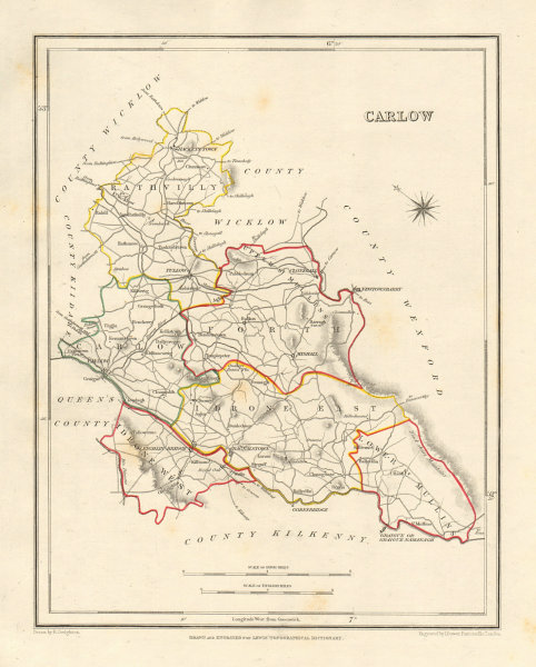 COUNTY CARLOW antique map for LEWIS by DOWER & CREIGHTON. Ireland 1846 old