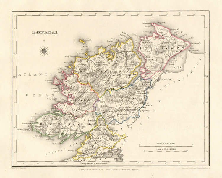 COUNTY DONEGAL antique map for LEWIS by DOWER & CREIGHTON. Ireland 1846
