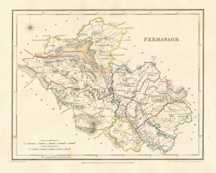 COUNTY FERMANAGH antique map for LEWIS by DOWER & CREIGHTON. Ulster 1846