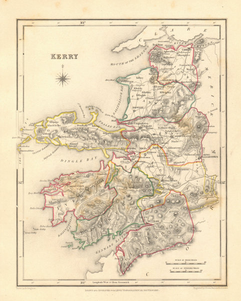 COUNTY KERRY antique map for LEWIS by DOWER & CREIGHTON. Ireland 1846 old