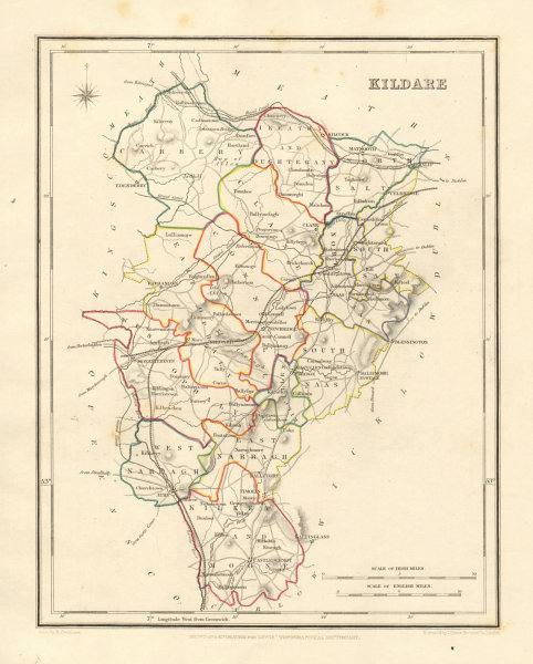 COUNTY KILDARE antique map for LEWIS by DOWER & CREIGHTON. Ireland 1846
