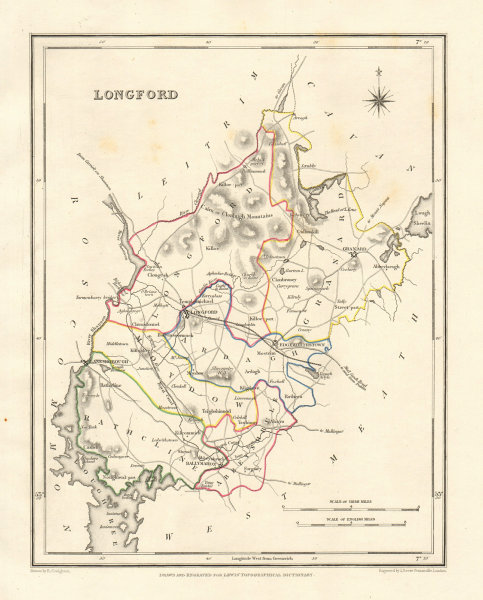 COUNTY LONGFORD antique map for LEWIS by DOWER & CREIGHTON. Ireland 1846