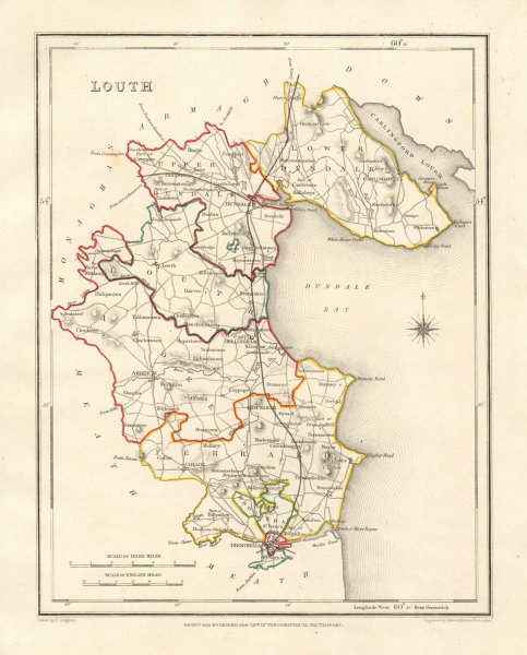 COUNTY LOUTH antique map for LEWIS by DOWER & CREIGHTON. Ireland 1846 old