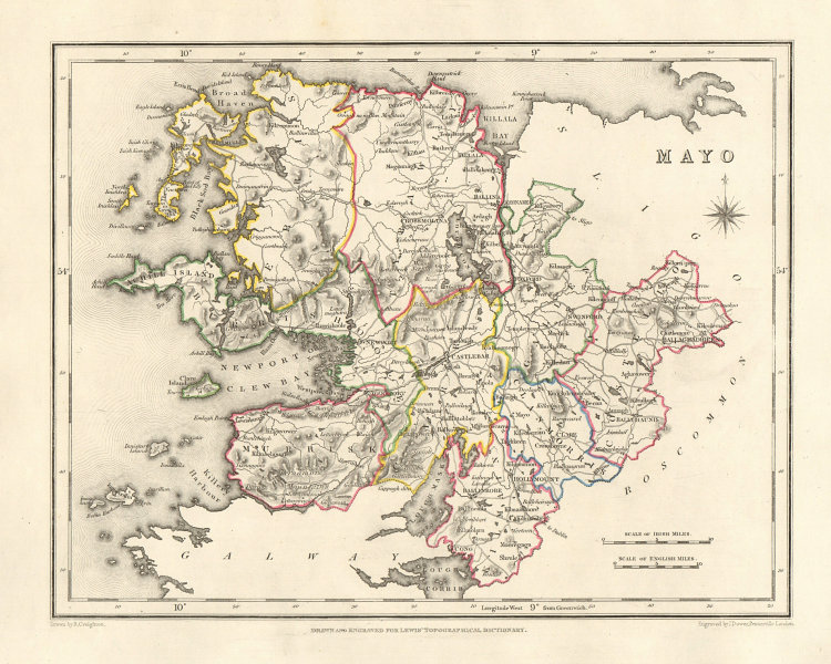 COUNTY MAYO antique map for LEWIS by DOWER & CREIGHTON. Ireland 1846 old