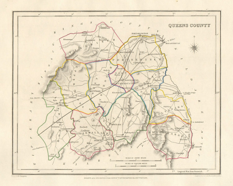 QUEENS COUNTY (LAOIS) antique map for LEWIS. DOWER & CREIGHTON. Ireland 1846