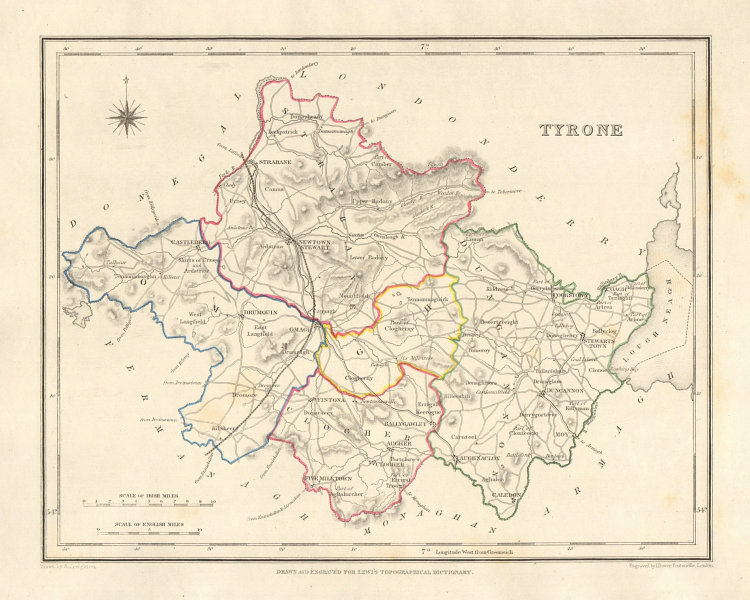 COUNTY TYRONE antique map for LEWIS by DOWER & CREIGHTON. Ulster 1846 old