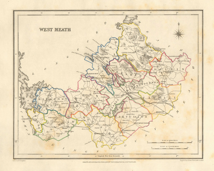 COUNTY WESTMEATH antique map for LEWIS by DOWER & CREIGHTON. Ireland 1846