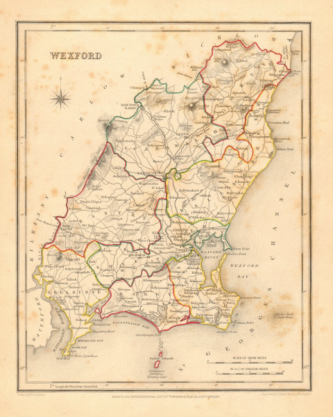 COUNTY WEXFORD antique map for LEWIS by DOWER & CREIGHTON. Ireland 1846