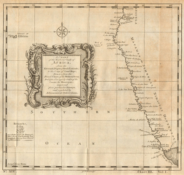 West coast of Africa from 11°S. Namibia & South Africa. CHILD 1745 old map