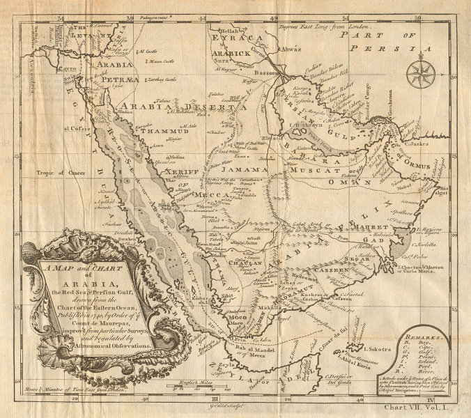 A map and chart of Arabia, the Red Sea & Persian Gulf. CHILD 1745 old