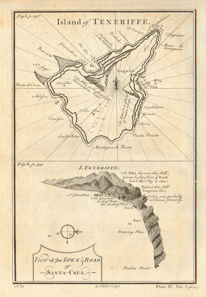 Island of Teneriffe. Santa Cruz de Tenerife, Canary Islands. CHILD 1745 map
