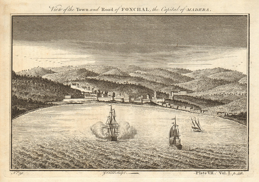 View of the town and road of Funchal, Madeira. Portugal. CHILD 1745 old print