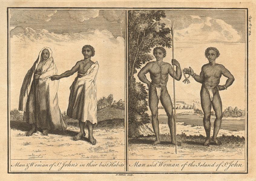 Cape Verde islands. Men & women of St Jean (Brava). KITCHIN 1745 old print