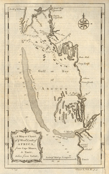 West coast of Africa from Cape Blanco… Arguin bay, Mauritania. LABAT 1745 map