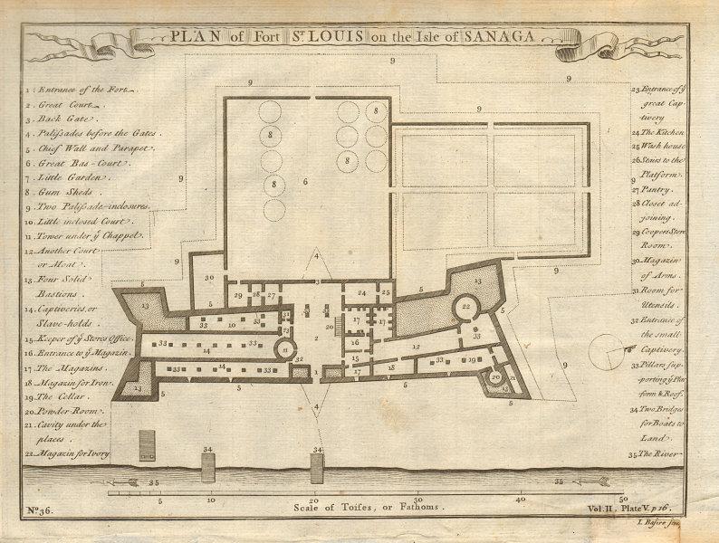 Plan of Fort Saint-Louis on the Isle of Sanaga. Senegal. BASIRE 1745 old map