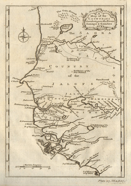 Countries bordering… the Sanaga & Gambra. Senegal Gambia rivers KITCHIN 1745 map