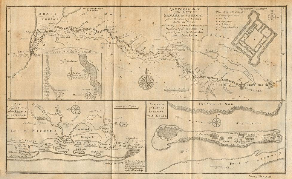 River Sanaga or Senegal. Mouth. Île Saint-Louis. Mauritania. D'ANVILLE 1745 map