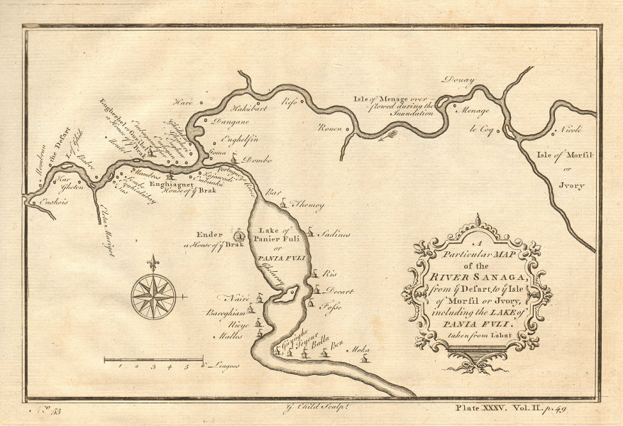 River Sanaga (Senegal) from ye desart to… Morfil. Lac Guiers. CHILD 1745 map