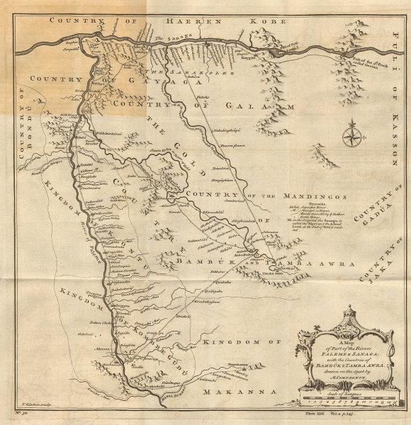Part of the rivers of Falémé & Sanaga… Senegal river Mali. KITCHIN 1745 map