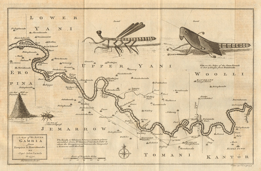 River Gambia from Eropina to Barrakunda. KITCHIN / LEACH 1745 old antique map