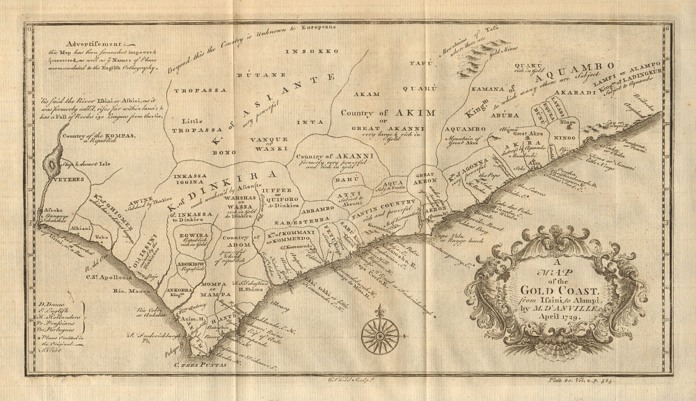 The Gold Coast from Issini to Alampi. Ghana. Volta delta. D'ANVILLE 1745 map