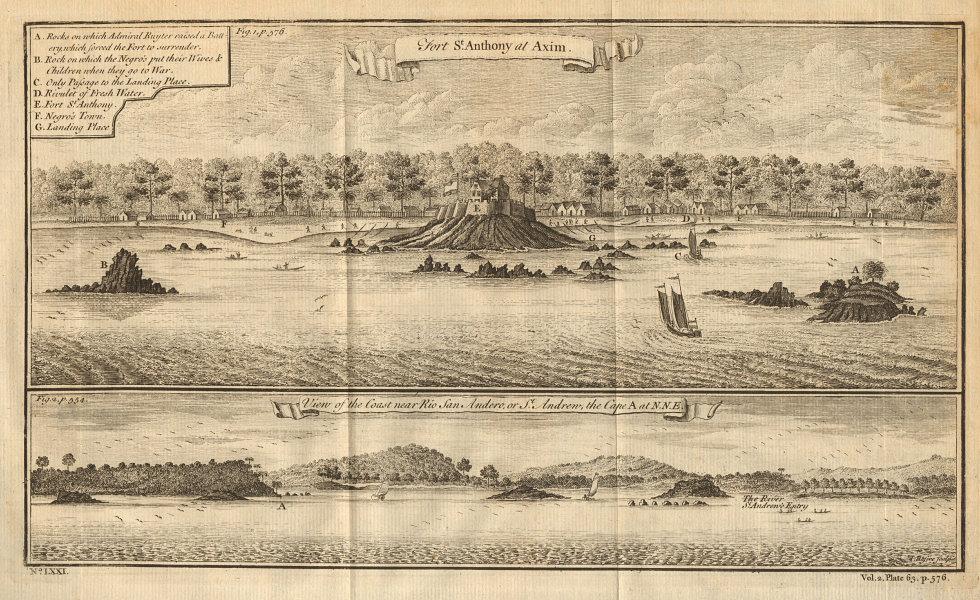 Ghana coast near San Andreo (Sassandra ?). Fort St. Anthony, Axim 1745 print