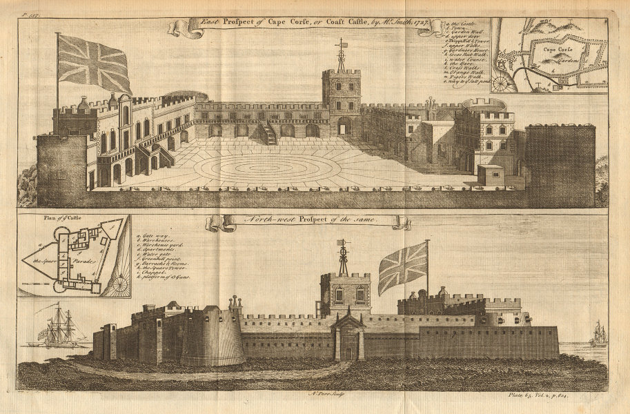 Two views of Cape Coast Castle. Ghana. William Smith 1745 old antique print