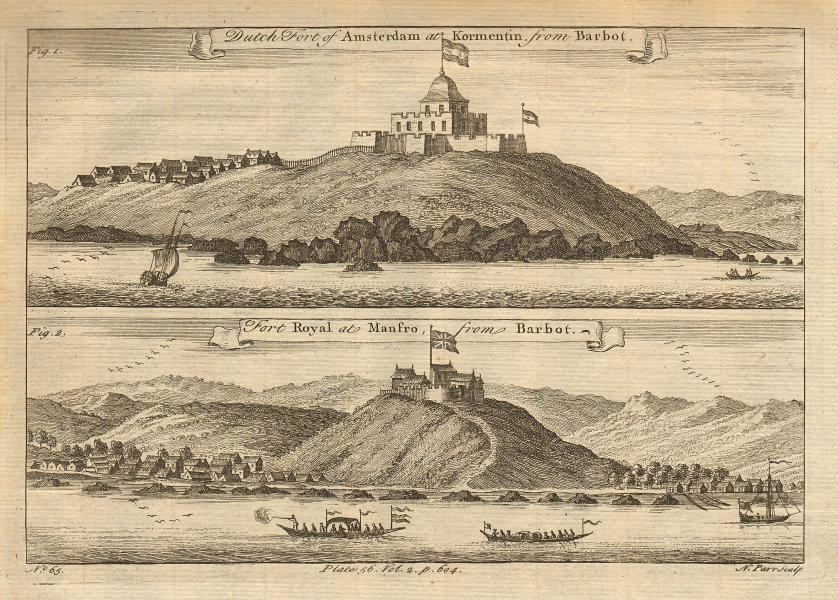 Ghana Forts. Fort Amsterdam, Kormantin. Fort Royal, Amanful Hill Cape Coast 1745