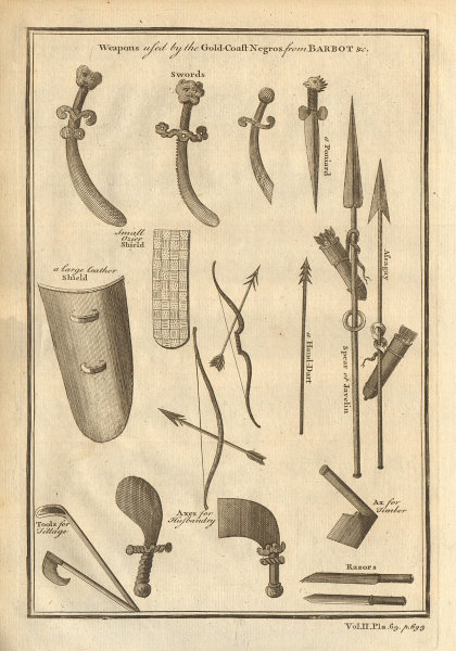 Gold Coast weapons. Barbot. Ghana 1745 antique vintage print picture