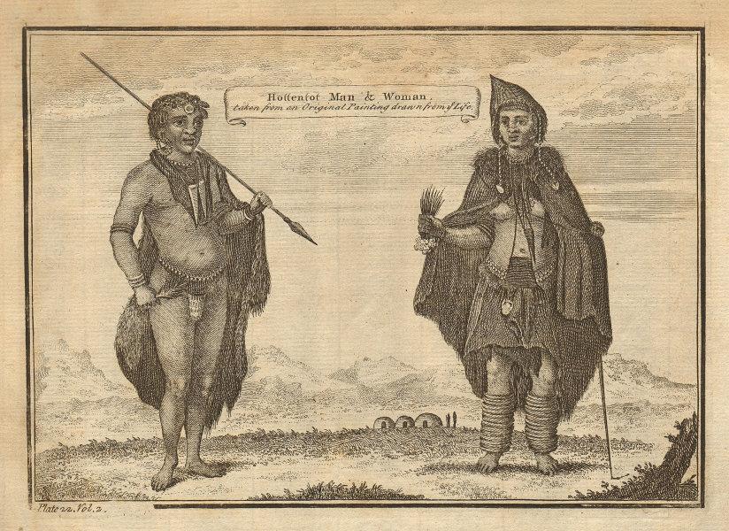 Hottentot (Khoikhoi) man & woman. Southern Africa 1745 old antique print