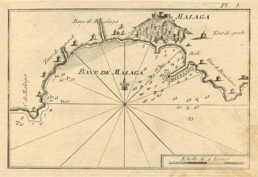 Baye de Malaga. Plan of the port and bay of Malaga. Spain. ROUX 1804 old map