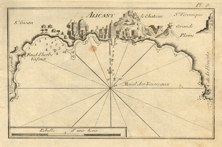 Alicant. Plan of Alicante Bay. Spain. ROUX 1804 old antique map chart