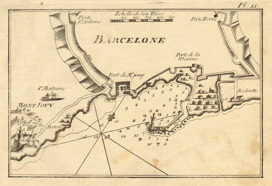 Barcelone. Port and roadstead of Barcelona. Spain. ROUX 1804 old antique map