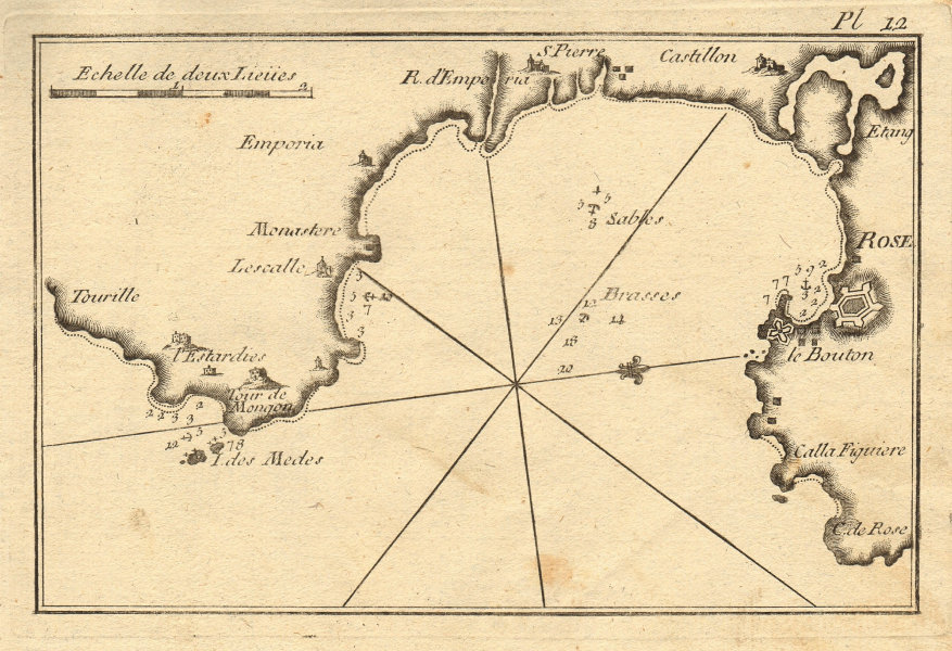 Gulf of Roses. L'Escala Torroella de Montgri L'Estartit Catalonia. ROUX 1804 map