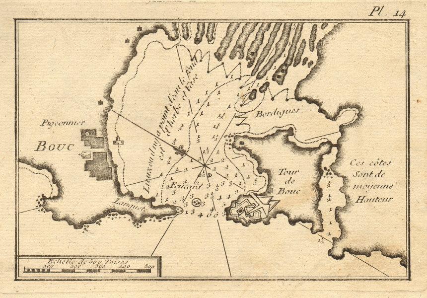 Bouc. Plan of Port-de-Bouc. Bouches-du-Rhône, France. ROUX 1804 old map