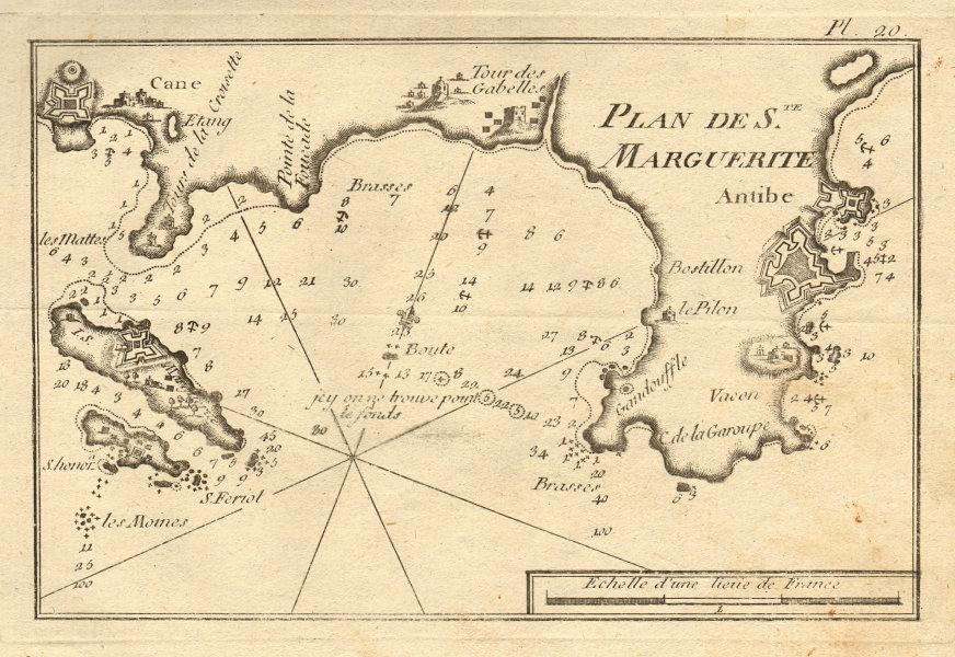 Ste-Marguerite Antibes Cannes Juan-les-Pins Lérins Alpes-Maritimes ROUX 1804 map