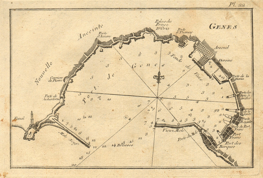 Genes. Plan of the port of Genoa. Italy. ROUX 1804 old antique map chart
