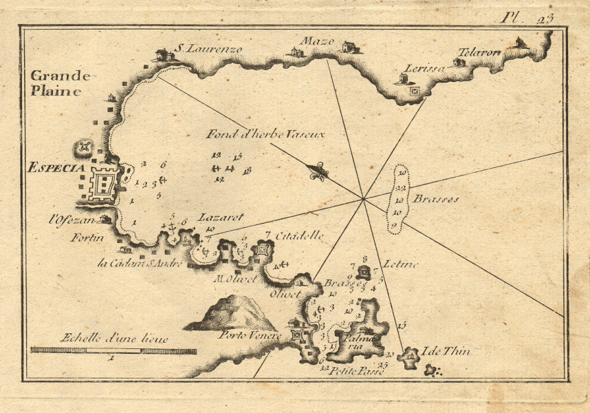 Especia. Plan of the Gulf of La Spezia. Italy. ROUX 1804 old antique map chart