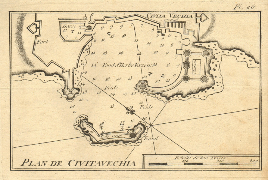 Plan de Civitavechia. Plan of the port of Civitavecchia. Italy. ROUX 1804 map