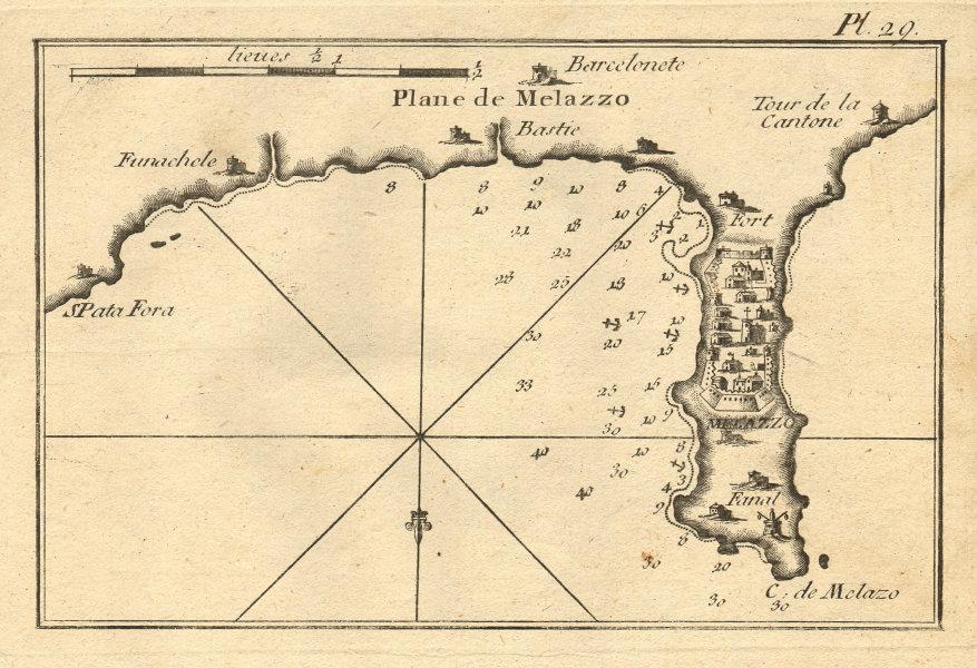 Melazzo. The Bay of Milazzo, Sicily. Fondachello Spadafora. Italy. ROUX 1804 map