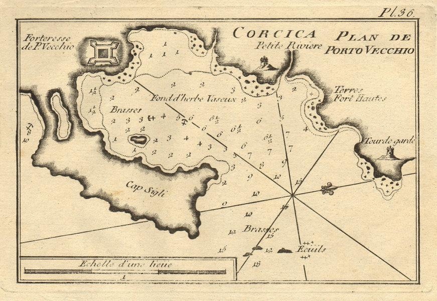 Plan de Porto Vecchio - Corcica. Gulf of Porto Vecchio, Corsica. ROUX 1804 map