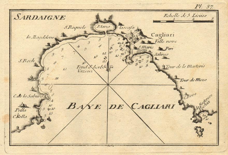 Baye de Cagliari (Sardaigne). Gulf of Cagliari, Sardinia, Italy. ROUX 1804 map
