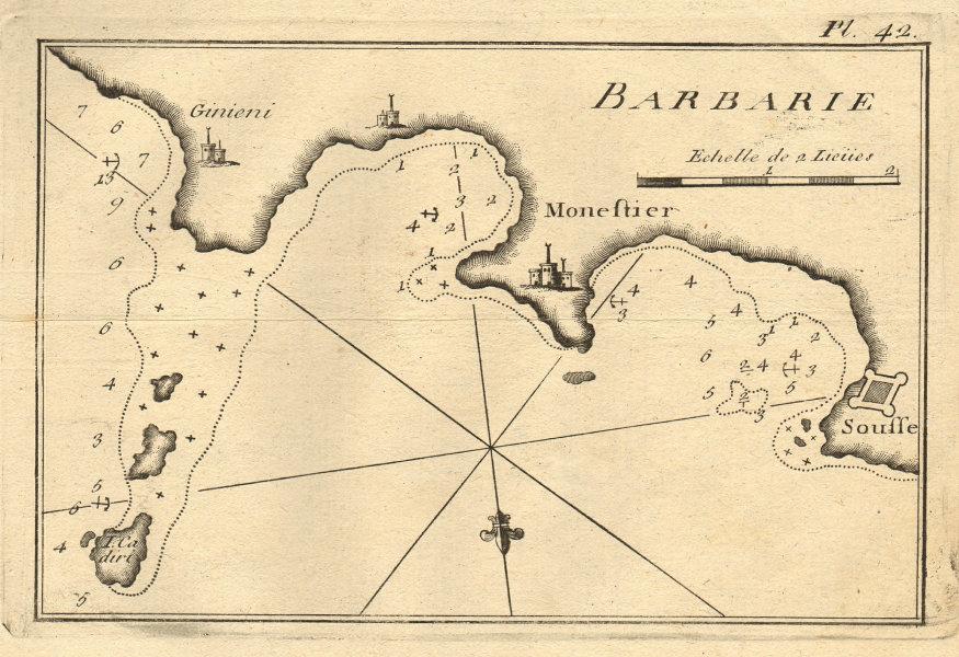 Monestier - Sousse (Barbarie). Monastir & Sousse coast. Tunisia. ROUX 1804 map