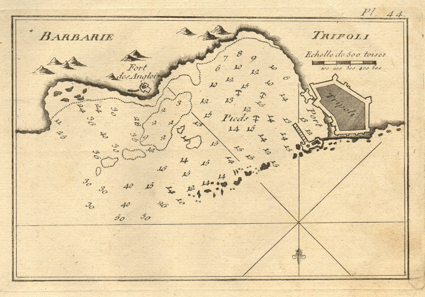 Tripoli (Barbarie). Plan of the Port and City of Tripoli. Libya. ROUX 1804 map