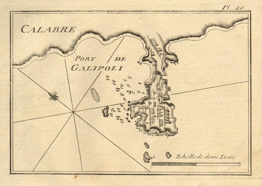 Port de Galipoli (Calabrie). City & Port of Gallipoli. Lecce Italy ROUX 1804 map