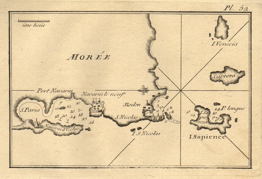 Pylos/Pilos/Navarino, Sapientza & Schiza. Ionian, Greece. ROUX 1804 old map